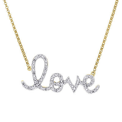 14K Yellow Gold Diamond Statement LOVE Script Letter Necklace Charm 0.33 Ct. ()