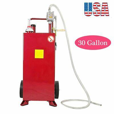 30 Gallon Gas Caddy Tank Storage Drum Gasoline Diesel Fuel Transfer Tool