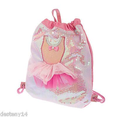 Sequin Ballerina Tutu Dress Drawstring Backpack Dance Bag Ballet Bookbag Pink
