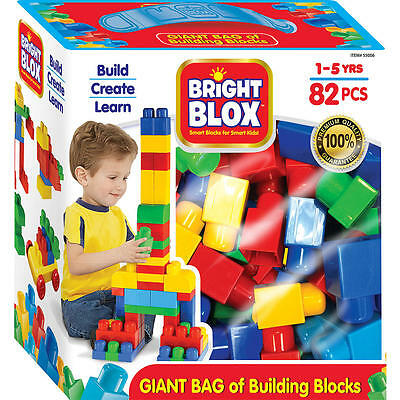 Cra-Z-Art Bright Blox 82 Piece Bag of Blocks - Blue