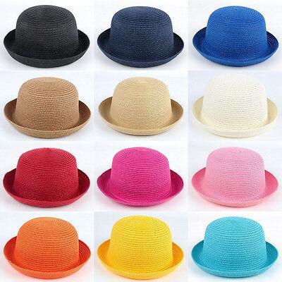 Adult & Kids Children Boys Girls Soft Straw Bowler Derby Bucket Cloche Hats Caps - Kids Derby Hats