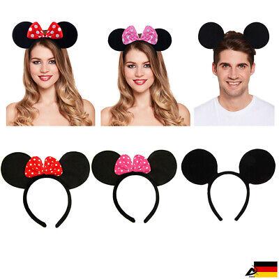 Maus Mouse Ohren Haarreifen Schleife Haarband Fasching Karneval Kostüm (Maus Ohren Kostüme)