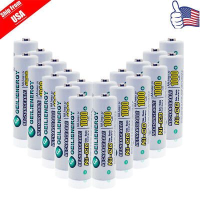 20x GLE AA Double A 1.2V NiCd 1000mAh Rechargeable Battery For Solar Light USA
