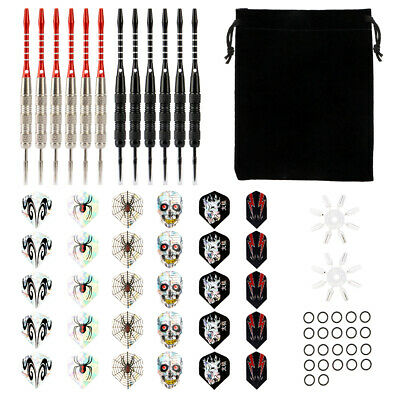 12 Dartpfeile Steel darts mit 15 Dartspitzen verchromt 4 Sets je 3 Flight 20g De
