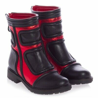 NIB AM66 Andrea Montelpare Kids GIRLS BLACK & RED LEATHER BOOTS 2.5 US 3.5 SZ 35