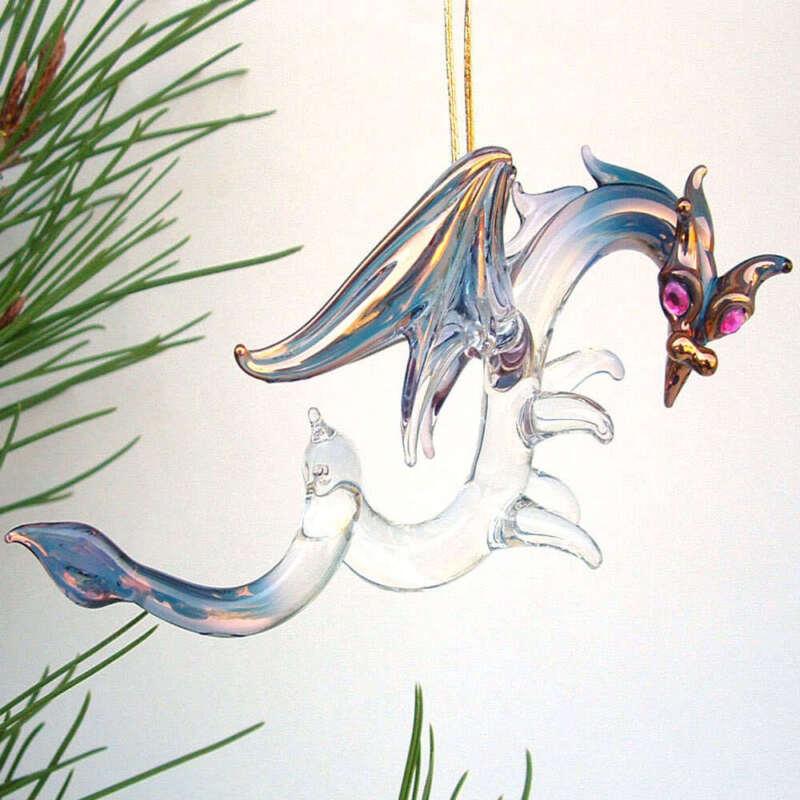 Dragon Christmas Tree Ornament of Hand Blown Glass
