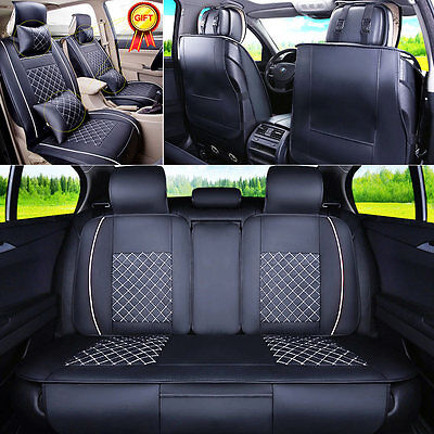 US Car 5 Seats Seat Cover PU Leather Front  Rear WNeck Lumbar Pillows M Size