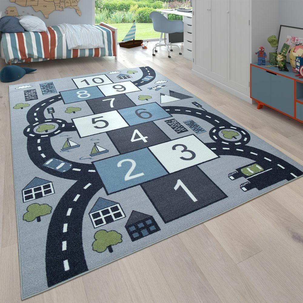 Kinderteppich Spielteppich Grau Blau Hüpfkästchen Straßen Design