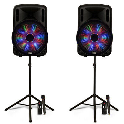 "Acoustic Audio Rechargeable 15"" Bluetooth Party Speakers w/ Lights Mics & Stands"