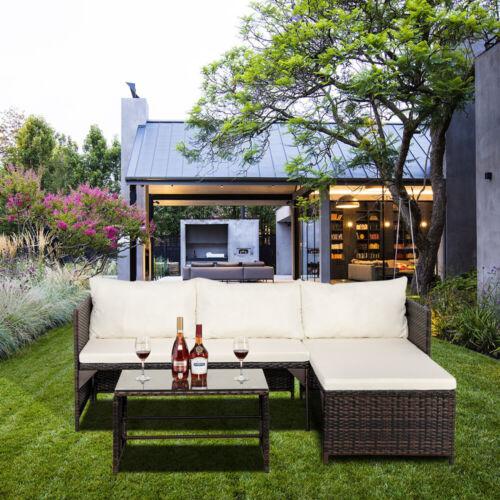 Garden Furniture - 3PC Patio Rattan Wicker Sofa Set Cushined Couch Furniture Outdoor Garden