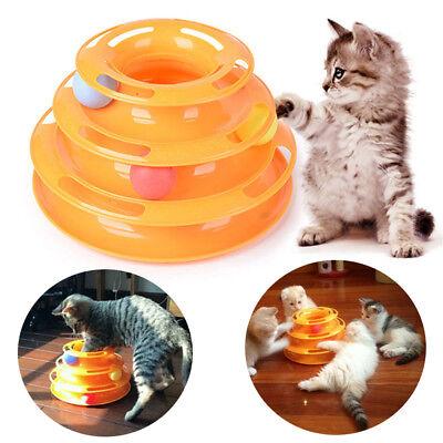Katzenspielzeug Katze Spielring Intelligenz-Training 3-stöckig Scheibe Mit Ball