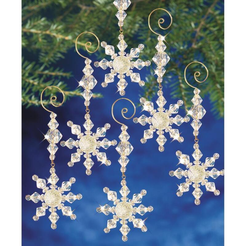 "Holiday Beaded Ornament Kit SNOW CRYSTAL DANGLERS Christmas Ornaments 4""x2"" ~  8"