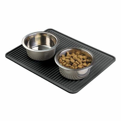 mDesign Silicone Pet Food and Water Bowl Feeding Mat for Dogs, Large - Black