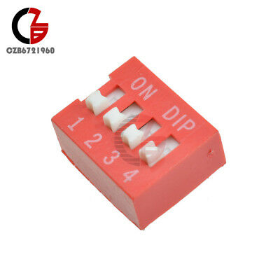 10pcs Slide Type Switch 2.54mm 4-bit 4 Position Way Dip Red Pitch Module
