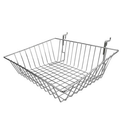 6pc 15x 12x 5 Shallow Front Sloping Basket Display Chrome Metal Wire Slatwall
