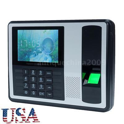 4 A7 Lcd Usb Biometric Time Fingerprint Attendance Clock Employee Recorder Tft