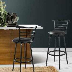Artiss Set of 2 PU Leather Bar Stools - Black - FREE DELIVERY