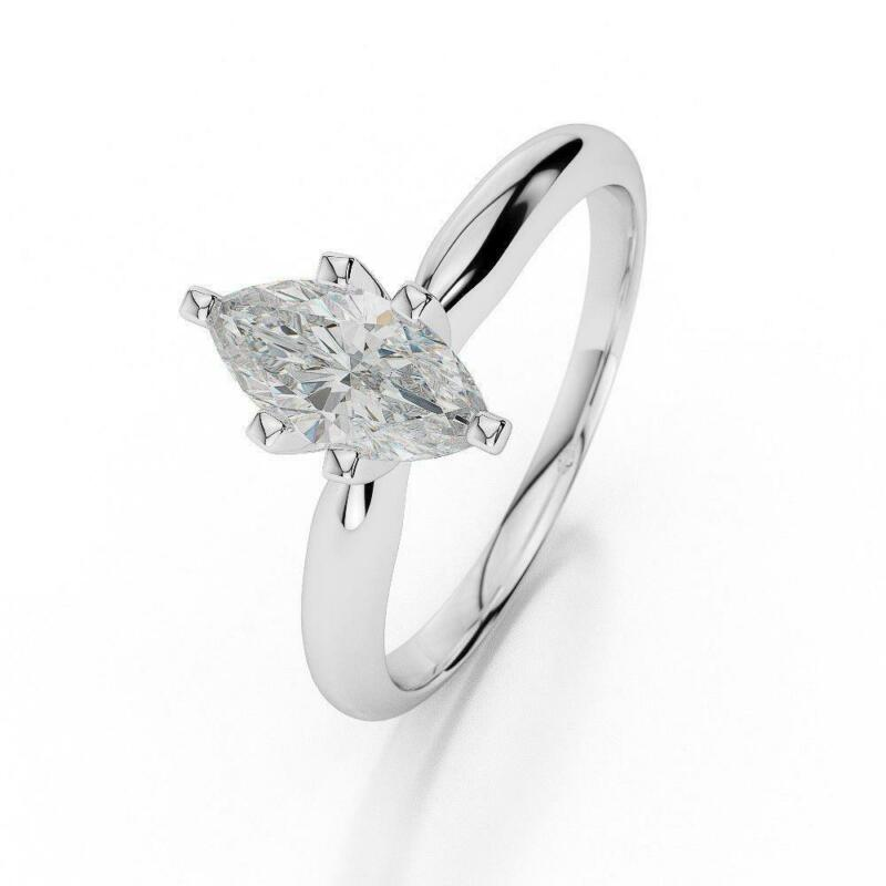 Solitaire Diamond Ring Marquise 1 Ct 18 Karat White Gold Si1 Certified Women