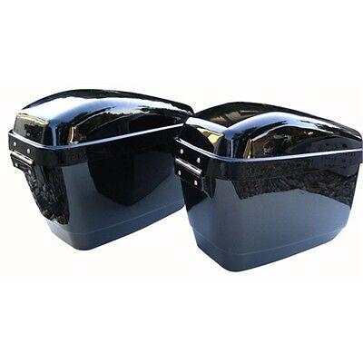 Black Hard Saddle Bags+Mounting Brackets For Harley Indian Victory Honda