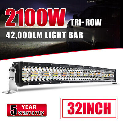 9D TRI-Row 32inch 2100W Curved LED Light Bar Spot Flood COMBO Offroad VS 30