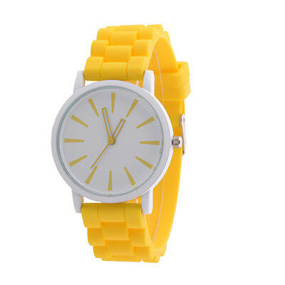 Silicone Rubber Unisex Quartz Analog Sports Women Wrist Watch Yellow часы