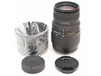 Nikon Sigma DG 70-300mm F/4-5.6 DG (Macro) Zoom Telephoto Lens. As New and Unused.