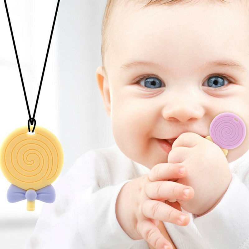 Baby Teether Pendant Teething Chew Necklace Bite Lollipop Nursing Toys TOP