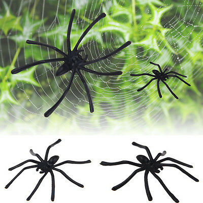 HOT30X Party Festival Plastic Black Spider Joking Toy Decoration Realistic Prop  - Festival Toys Wholesale