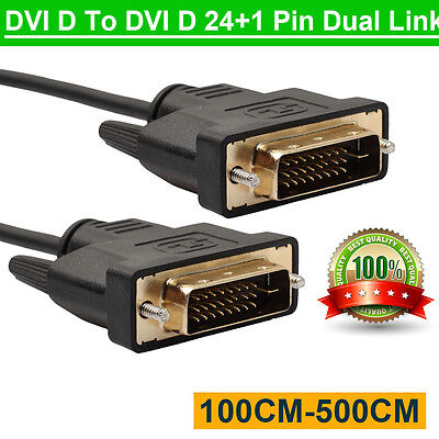 24 Pin Digital Dvi (LCD Digital Monitor DVI D To DVI-D Gold Male 24+1 Pin Dual Link TV Cable For TFT )