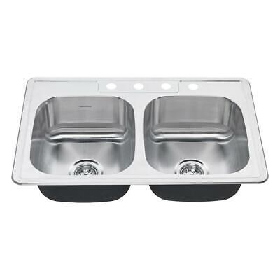 American Standard Colony Pro Drop-In 32.36 in. 4-Hole Double Bowl Kitchen Sink  American Standard Double Bowl Sink