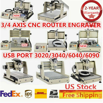 34axis Cnc 304060406090 Router Cutting Machine Engraving 1.5kw Usb Desktop Us