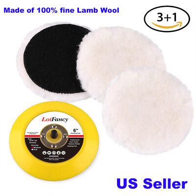 - 6'' Wool Car Buffing Pad Polishing Detailing Backing Buffer Sanding Sander Pads