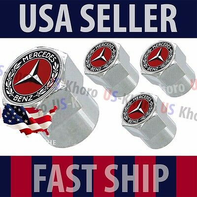 Mercedes Benz MB Red Logo Valve Stem Caps Covers Chromed Roundel Emblem Tire USA ()