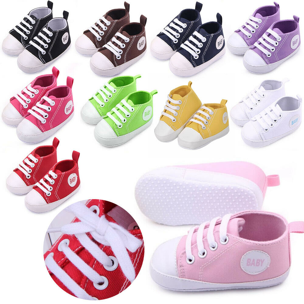 Cute Baby Boy Girl Kids Canvas Sneaker Anti-skid Newborn Sof