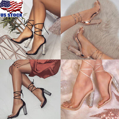 Women's Lace Up Block Mid Heel Ankle Tie Rhinestone Strappy Sandal Shoes Size (Ankle Tie Shoes)