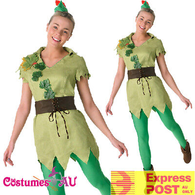 Ladies Disney Peter Pan Robin Hood Costume Green Storybook Book Week Fancy - Robin Hood Disney Costume