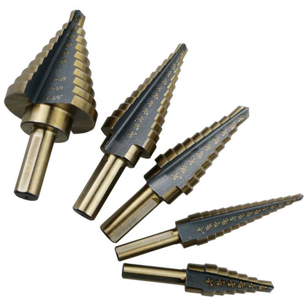 5Pcs/Set HSS Large Cobalt Hole Titanium Cone Step Drill Bit Cutter Tools