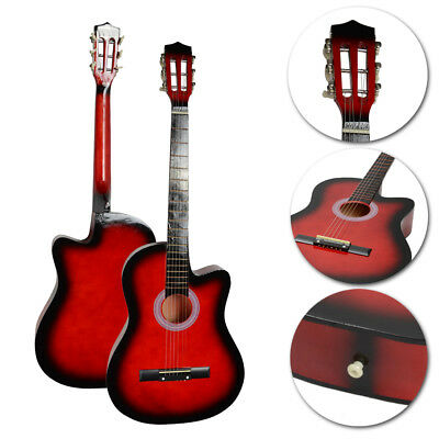 "New 38"" Red Practice 6 Strings 19 Frets Cultaway Acoustic Guitar for Beginner"