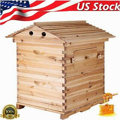 Wooden Bee Hive Box Beekeeping Beehive House For Auto Flowing Honey Frames Us