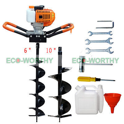 """2.2HP Gas Powered One Man Post Hole Digger Auger Drill Bits 6"""" + 10"""" 52CC Engine"""