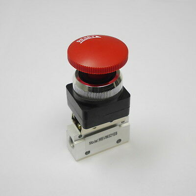 32 Way Pneumatic Valve With Emergency Push Button With Lock In Red 18 Npt