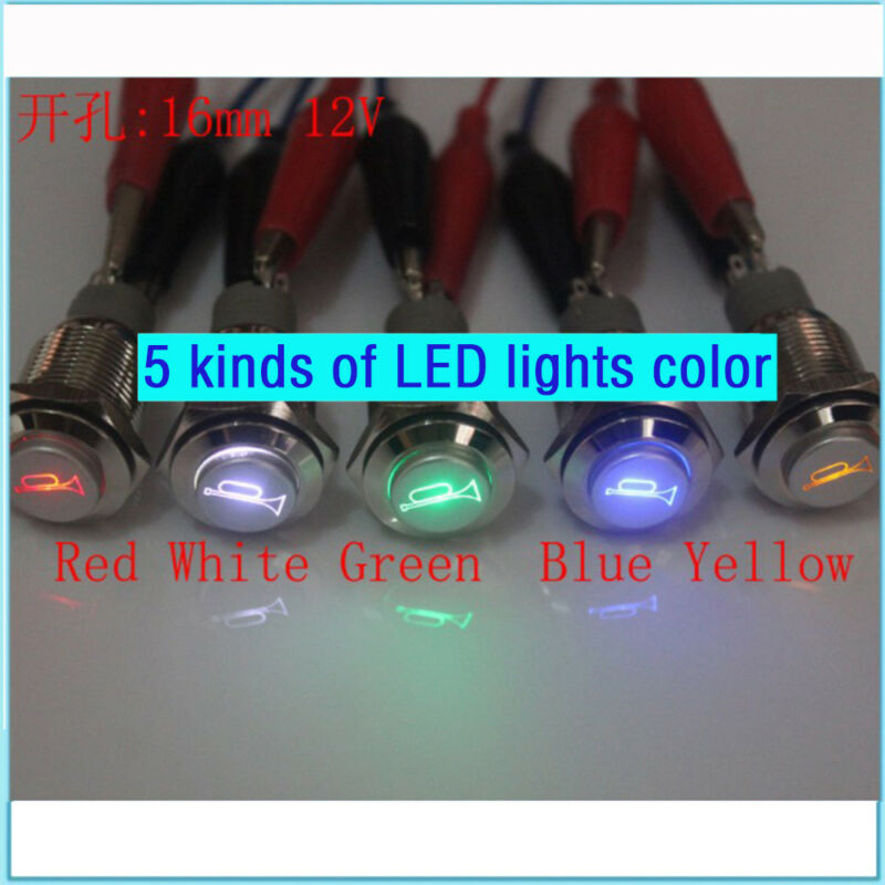 12V 16mm Blue LED Momentary Push Button Metal Switch Car Boat Speakers Bells Horn(Including Plug)