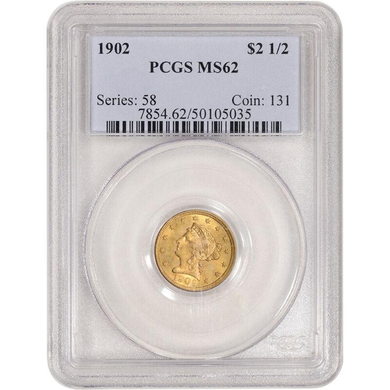 US Gold $2.50 Liberty Head Quarter Eagle - PCGS MS62 - Random Date