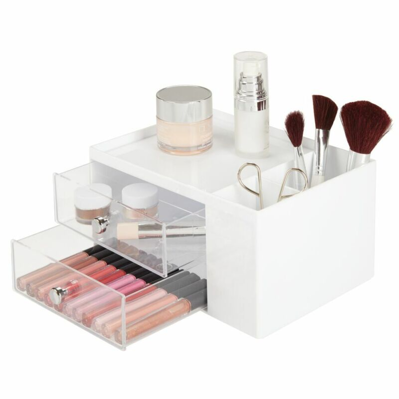 mDesign Plastic Makeup Storage Organizer Caddy Box, 4 Sections - White/Clear
