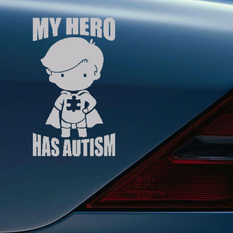 1Pc Fuuny MY HERO HAS AUTISM Decal Sticker For Car Truck Laptop Decals White