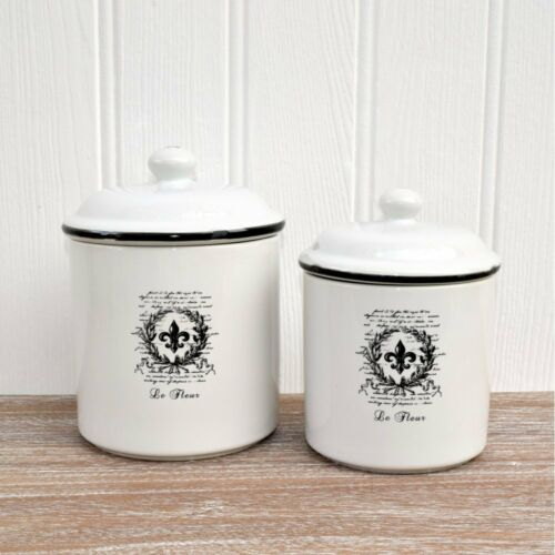 French chic white ceramic storage jars vintage style for Small bathroom jars