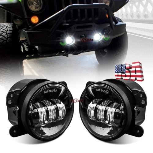 "Pair 4"" Round LED Fog Light Front Bumper Driving Lamp for Jeep Wrangler JK JL JT"