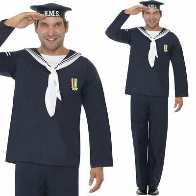 Mens 1940s Navy Fancy Dress Costume World War 2 Naval Uniform