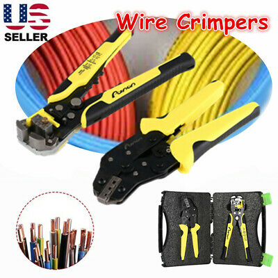 Pro Wire Crimper Pliers Ratcheting Cable Connectors Terminal Crimping Tool Kit