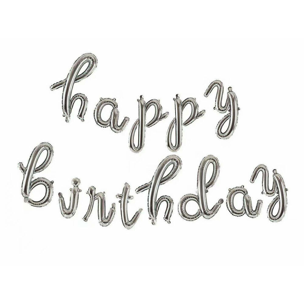 16″ Script Happy Birthday Foil Letters Happy Birthday Balloons Party Decorations Greeting Cards & Party Supply